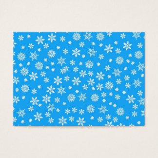 White Snowflakes on Light Blue  Background Business Card