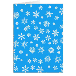 White Snowflakes on Light Blue  Background Card