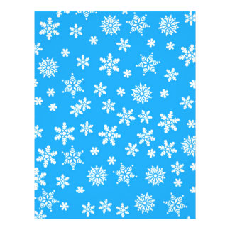 White Snowflakes on Light Blue  Background Flyer