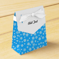 White Snowflakes on Light Blue  Background Party Favor Box