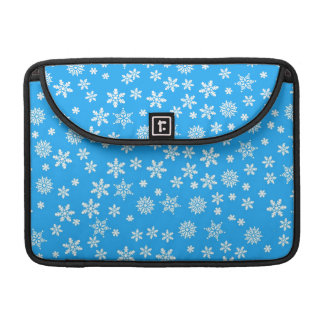 White Snowflakes on Light Blue  Background Sleeves For MacBook Pro