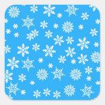White Snowflakes on Light Blue  Background Sticker
