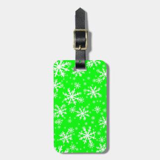 White Snowflakes on Lime Green Luggage Tag