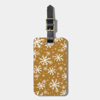 White Snowflakes on Matte Gold Bag Tag