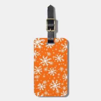 White Snowflakes on Orange Bag Tag