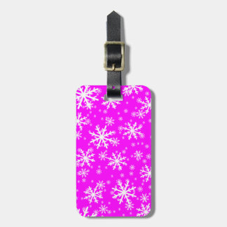 White Snowflakes on Pink Luggage Tag
