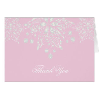 White Snowflakes on Pink Thank You Note Cards