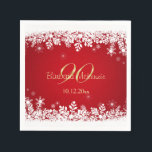 "White snowflakes on red 90th Birthday Party Napkin<br><div class=""desc"">White snowflakes on red background 90th Birthday party Paper Napkins. You can remove image &quot;90&quot; and put your text or any year of celebration</div>"