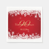 White snowflakes on red 90th Birthday Party Napkin
