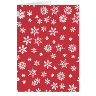 White Snowflakes on Red Background Card