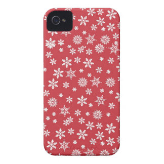 White Snowflakes on Red Background iPhone 4 Case-Mate Cases