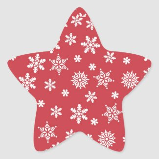 White Snowflakes on Red Background Classic Round Sticker