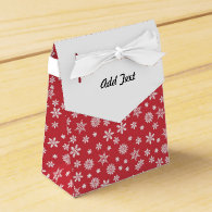 White Snowflakes on Red Background Favor Box