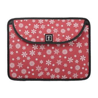 White Snowflakes on Red Background Sleeve For MacBooks