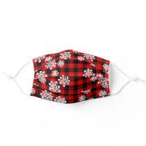 White Snowflakes On Red Black Buffalo Lumberjack Adult Cloth Face Mask