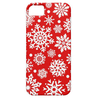 White snowflakes on red iPhone SE/5/5s case
