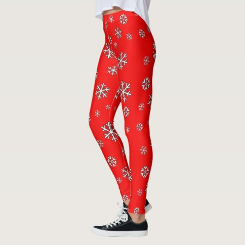 White Snowflakes on Red Leggings