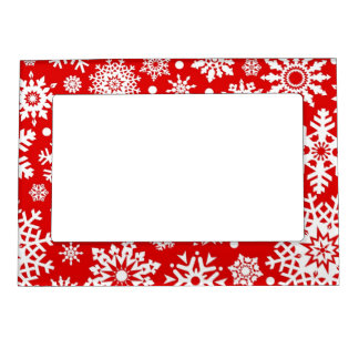 White snowflakes on red magnetic frame