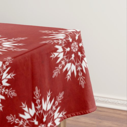 White Snowflakes on Red Tablecloth
