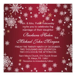 White snowflakes on red Wedding Invitation
