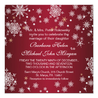 White snowflakes on red Wedding Invitation