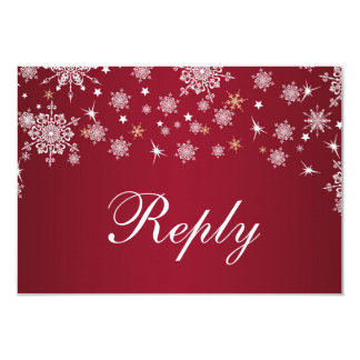 White snowflakes on red Wedding RSVP Card