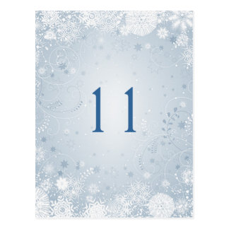 White snowflakes on silver blue Table Number Postcard