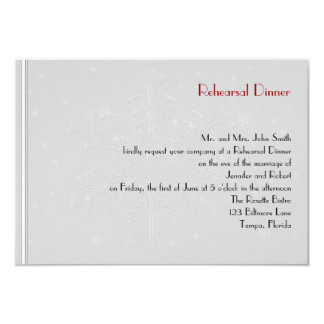 "White Snowflakes on Silver Wedding Rehearsal 3.5"" X 5"" Invitation Card"
