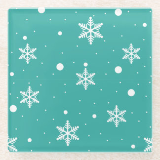 White Snowflakes on Turquoise Glass Coaster