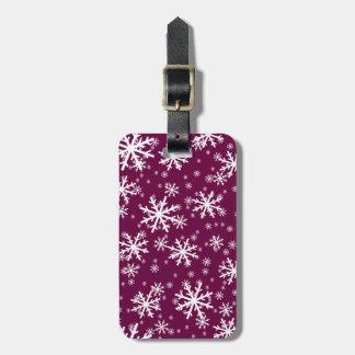 White Snowflakes on Tyrian Purple Luggage Tag