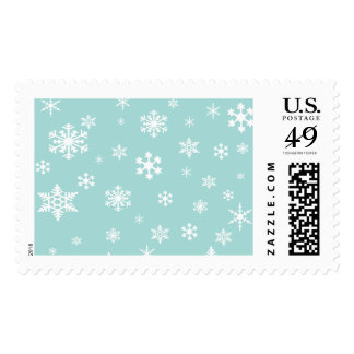 White Snowflakes Over Robin's Egg Blue 2, Holiday Postage