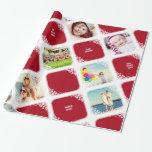 White Snowflakes Photo Collage Christmas Gift Wrap