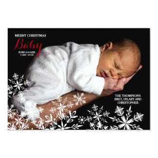 White Snowflakes Photo Holiday Card