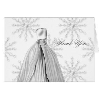 White Snowflakes Quinceanera Thank You Cards