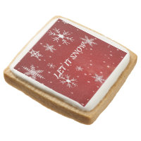 White Snowflakes Red Square Shortbread Cookies Square Premium Shortbread Cookie