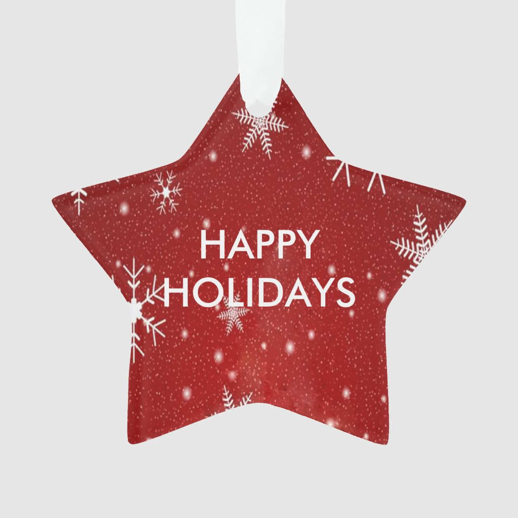 White Snowflakes Red Star Shape Acrylic Ornament