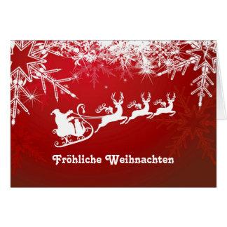 White snowflakes, Santa, reindeers on red German Card