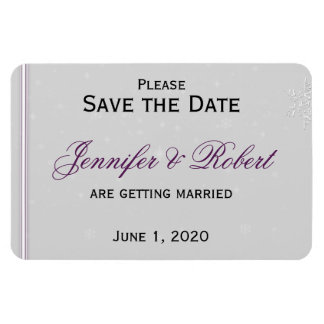 White Snowflakes Silver Wedding Save the Date Rectangular Magnets