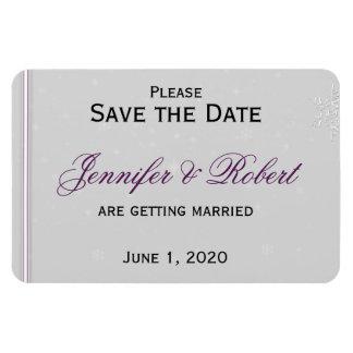 White Snowflakes Silver Wedding Save the Date Rectangular Photo Magnet