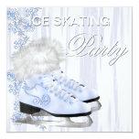 White Snowflakes Skates Ice Skating Party 5.25x5.25 Square Paper Invitation Card
