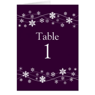 White Snowflakes Table Number Seating Cards