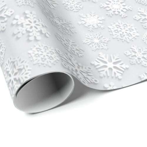 White Snowflakes Watercolor Christmas Wrapping Paper