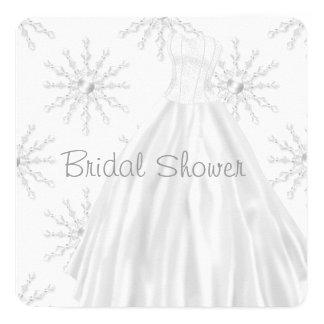 White Snowflakes Wedding Dress Bridal Shower Invite