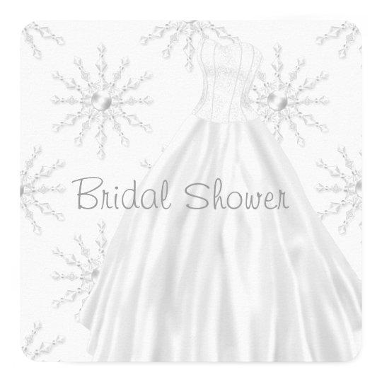 White Snowflakes Wedding Dress Bridal Shower Invitation