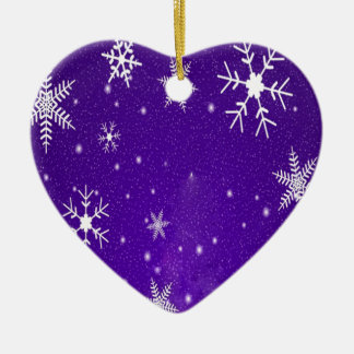 White Snowflakes with Blue-Purple Background Ceramic Ornament