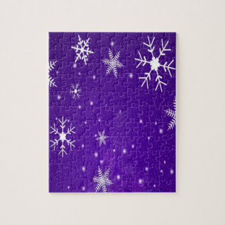 White Snowflakes with Blue-Purple Background Jigsaw Puzzle