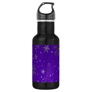 White Snowflakes with Blue-Purple Background Stainless Steel Water Bottle