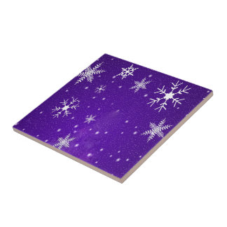 White Snowflakes with Blue-Purple Background Tile