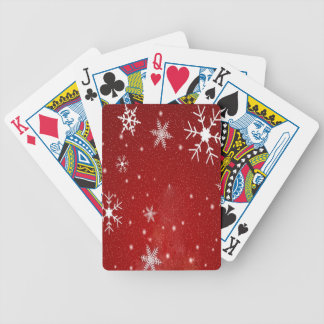 White Snowflakes with Red Background Bicycle Playing Cards