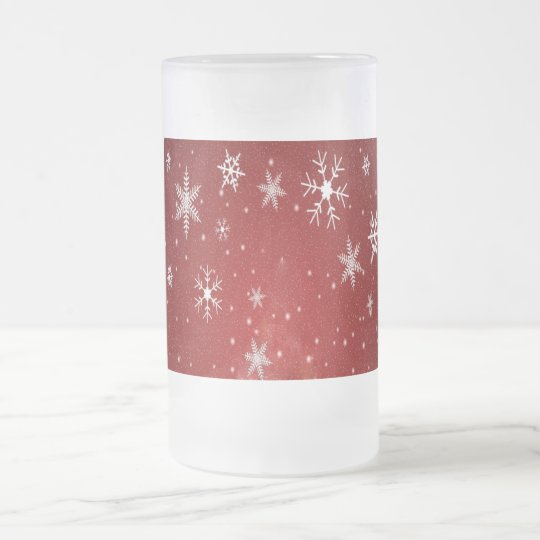 White Snowflakes with Red Background Frosted Glass Beer Mug